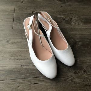 J. Crew | NWOT White Slingback Pumps in Leather